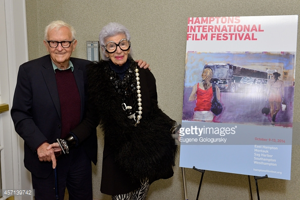 EAST HAMPTON, NY - OCTOBER 12: Filmmaker Albert Maysles (L) and Iris Apfel attend the Iris premiere during the 2014 Hamptons International Film Festival on October 12, 2014 in East Hampton, New York. (Photo by Eugene Gologursky/Getty Images for The Hamptons International Film Festival)