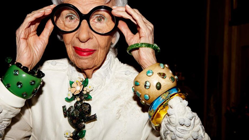 93-year-old Iris Apfel is the subject in Albert Maysles last documentary, Iris. becauselondon.com