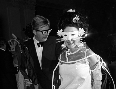 "Harry Benson, Jacqueline de Ribes at Truman Capote's ""Black and White"" Ball at the Plaza Hotel, New York, 1966"
