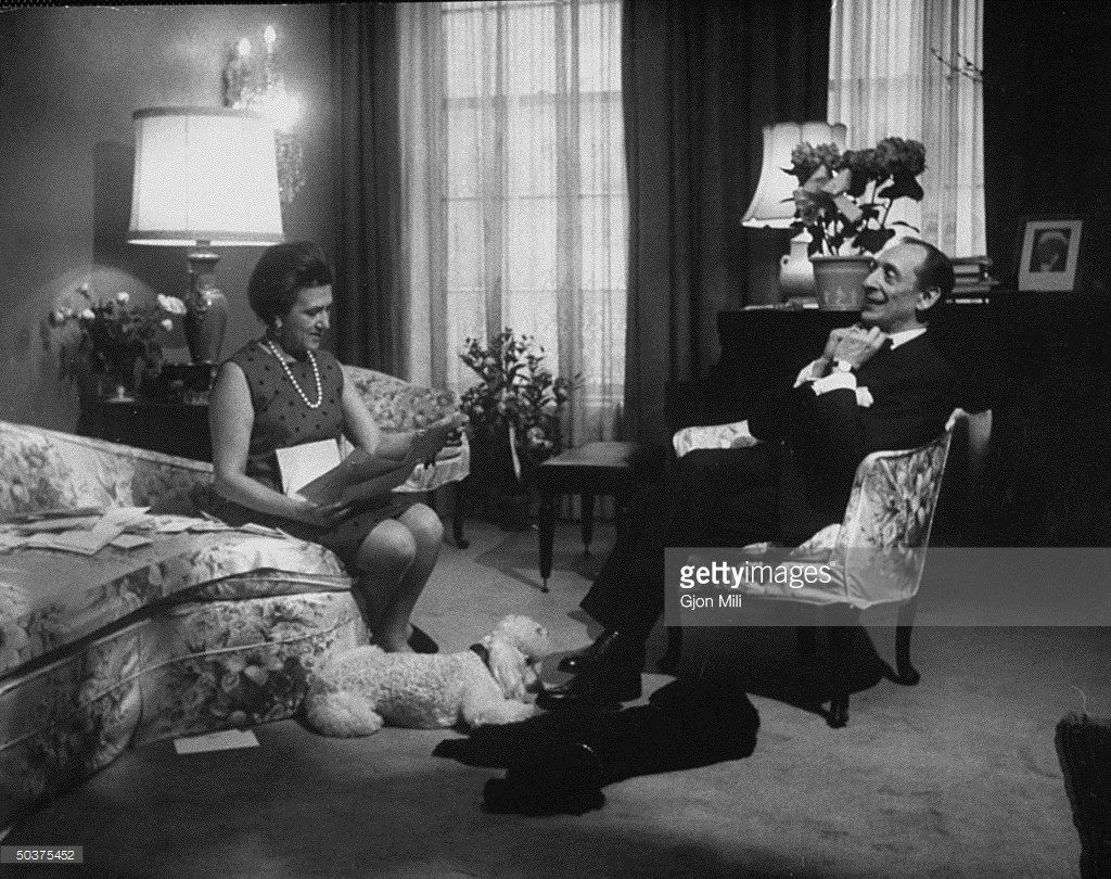 Pianist Vladimir Horowitz in his New York apartment w wife Wanda pet poodles