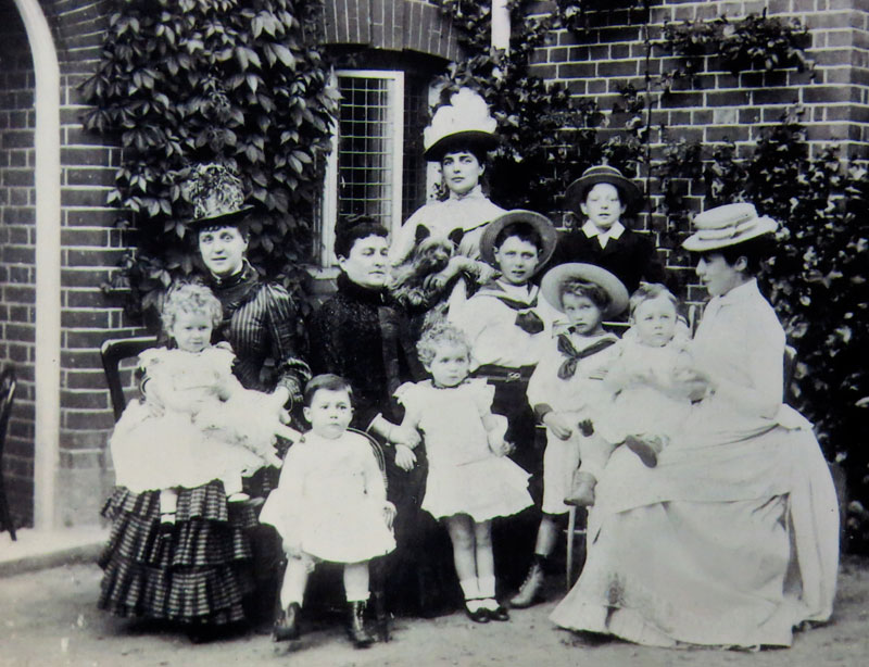Caption Clara Jerome (hatless) her three daughters Clara Frewen Lady Jennie Churchill and Lady Leonie Leslie and all their children including Winston