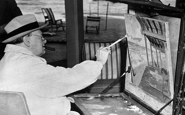 Winston Churchill (1874 - 1965) painting a beach scene from the Surf Club