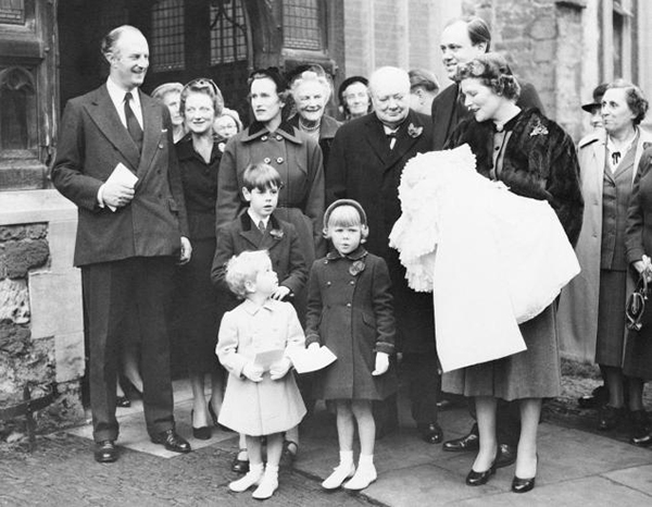Winston Churchill (center) with family, including Mary Soames (second from right)