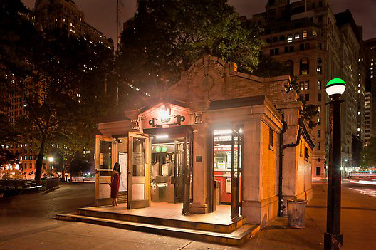 Bowling Green subway entrance. NYC, New York, USA